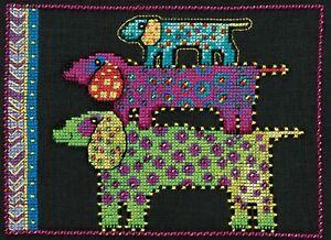 Dog Pyramid Cross Stitch Kit (Linen) Mill Hill 2016 Laurel Burch Dogs LB301615