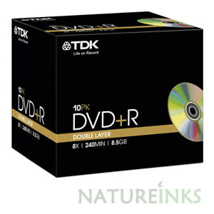 10 Genuine TDK DVD+R DL Dual Double Layer 8.5GB Disc 8x 240 mins T19544 CMC D03