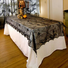 Halloween Lace Spider Web Table Cover Tablecloth Rectangle Party Bar Decor Black