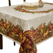 "60x120"" Rectangle Table Cloth Linen Cover Thanksgiving Autumn Fall Harvest Decor"