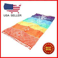 Beach Yoga  Towel Quick Dry Colorful Bohemia Blanket Rainbow Print
