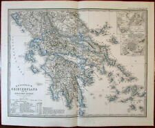 Greece Greek islands Ionian Islands Athens city plan 1866 Berghaus old map