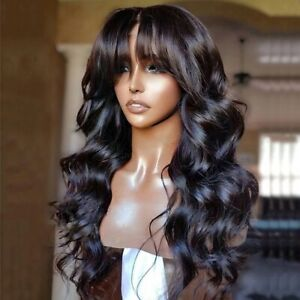 8A 180 Density Unprocesed Brazillian Bodywave Lacefro Human Hair Wig With Bangs