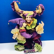 Jester Elf figurine art doll witch mother son bendable pixie fairy magic vtg hat