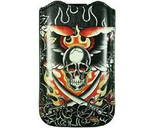 ED HARDY SKULL SWORD Leder Tasche Etui Hülle Apple iPhone 4 4S 3G 3GS iPod Touch