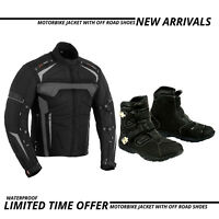 Waterproof Motorcycle Motorbike Textile Jacket Coat Leather Boots Touring Shoes
