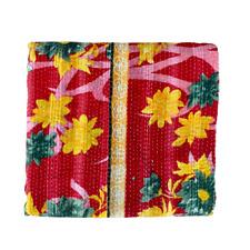 Indian Handmade Vintage Cotton Reversible Kantha Quilt Throw Bedspread- Priya