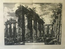 Large Vintage Etching of An Classical Temple Ruins Giovanni Battista Piranesi