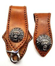 Biker Skull Trucker orange Stitch tan Leather Belt Clip Key chain Holder Set