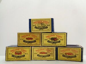 lot of 6 original MOKO Lesney MATCHBOX boxes-----see photos & more boxes