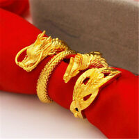 Fashion Gold Plating Dragon Phoenix Lovers Ring Wrist Wristband Meditation Pray