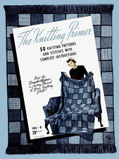 Bear Brand #8 c. 1940 Knitting Primer : 50 Knitting Stitches to Make an Afghan