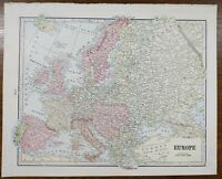 "VINTAGE 1900 EUROPE Map 11""x14"" ~ Old Antique Original EU UK ITALY NORWAY SPAIN"