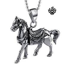 Silver war horse pendant 3D stainless steel solid necklace