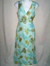 WOMENS KATE HILL AQUA FLORAL LONG SILK DRESS SIZE 6P 6