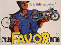 CYCLES MOTOS FAVOR BICYCLE MOTORCYCLES BELLE MECANIQUE VINTAGE POSTER REPRO