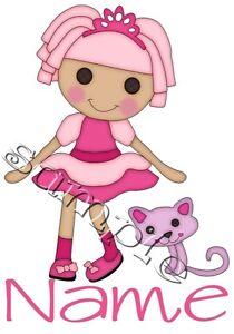 IRON ON TRANSFER personalised lalaloopsy doll lookalike pink cat kitten princess