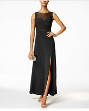 Nightway NEW Black Women's Size 14P Petite Illusion Mesh Ball Gown