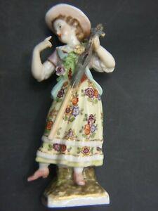 Antique German Meissen Fine Porcelain Lady Figurine Marked AR Augustus Rex Rare