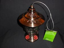 Hummingbird Feeder, Glass Bottle Copper-Plated Metal Top and Base