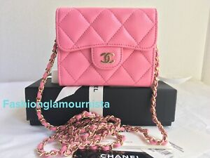 Auth BNIB Chanel Pink XL Card Holder Clutch With Chain Wallet On A chain Bag 21P