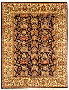 9x12 Hand Knotted Wool Large Area Rug Handmade 'Himani' Oriental Black Carpet