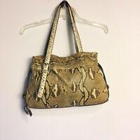 Giorgia R Womens Python Handbag Purse Pale Beige Yellow Brown Leather