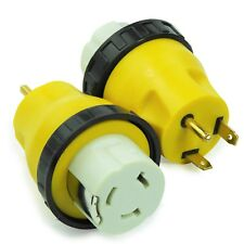 New RV Power Cord Adapter 30 Amp Male to 50 Amp Twist Lock Female Trailer