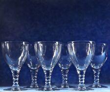 6 Seneca Crystal PIROUETTE CLEAR Water Glass Goblets- Twist Stem- Morgantown,WVA