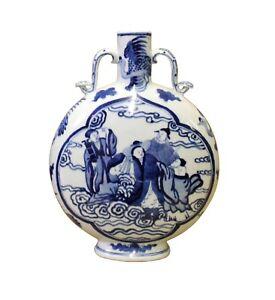 Chinese Blue White Porcelain People Theme Flask Shape Vase cs4093