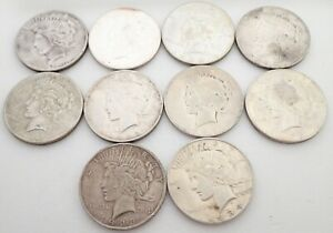 Lot of 10 90% Peace Silver Dollars Coins