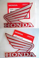 Honda Fuel Tank Wing Decal Wings Sticker x 2 SILVER + RED * GENUINE HONDA *