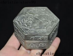 Chinese dynasty Tibetan silver Ancient people statue jewelry Storage Box Boxes