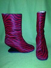 Vintage Red Zebra Fluevog Liftoff Zip-Up Mid-Calf Boots 5-5.5