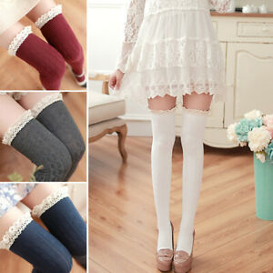 Ladies Womens Over The Knee High Thigh Socks Lolita Lace Long Cotton Stockings