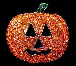 Bold BIG 3D Rhinestone PUMPKIN Jack o Lantern Orange Halloween Costume Brooch