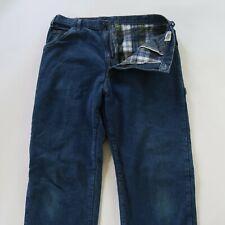 Dickies Mens Flannel Lined Dark Wash Denim Carpenter Jeans Tag 36x34 Fits 34x34