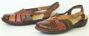 CLARKS bendables INA SASSY closed toe SLINGBACK brown multicolor SANDALS size 11