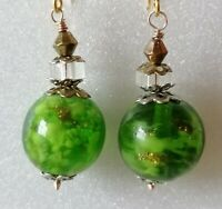 Vintage Venetian Bright Green Sommerso Bead Gold 925 Earrings to Match Necklace