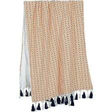Fish & Coral patterned Beach Towel with Tassels, Bath Sarong Blanket Throw