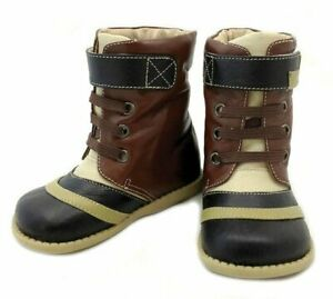 NIB LIVIE & LUCA Shoes Boots Booties Gaffer Brown Black Toddler 4