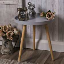 Grey round side table occasional retro shabby industrial chic style pretty decor