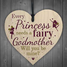 Will You Be My Godmother Fairy Wooden Heart Godparents Family Friendship Gifts