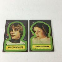 Lot of 2, Vintage 1977 Star Wars Sticker Cards Luke Skywalker Leia Organa