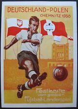 s1927) Fußball Länderspiel Deutschland - Polen Festkarte mit SoSt 18.9.1938