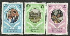 DOMINICA 1981 PRINCESS DIANA & PRINCE CHARLES ROYAL WEDDING 3v MNH
