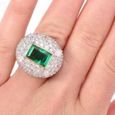 Stunning CZ Dome Ring Is Centered With 1 Vibrant High Quality Baguette Emerald