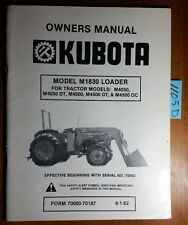 Kubota M1830 Loader S/N 70000- for M4050 M4500 Dt Oc Operator Parts Manual 6/82