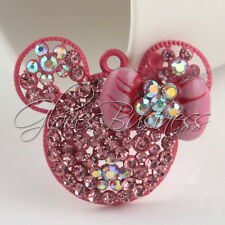 1PC 34x42mm Pink Mouse Head Rhinestone Pendant For Bubblegum Chunky Necklace