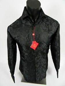 Mens Leonardi Dress Shirt Black Leaf Floral Design with Sheen French Cuff